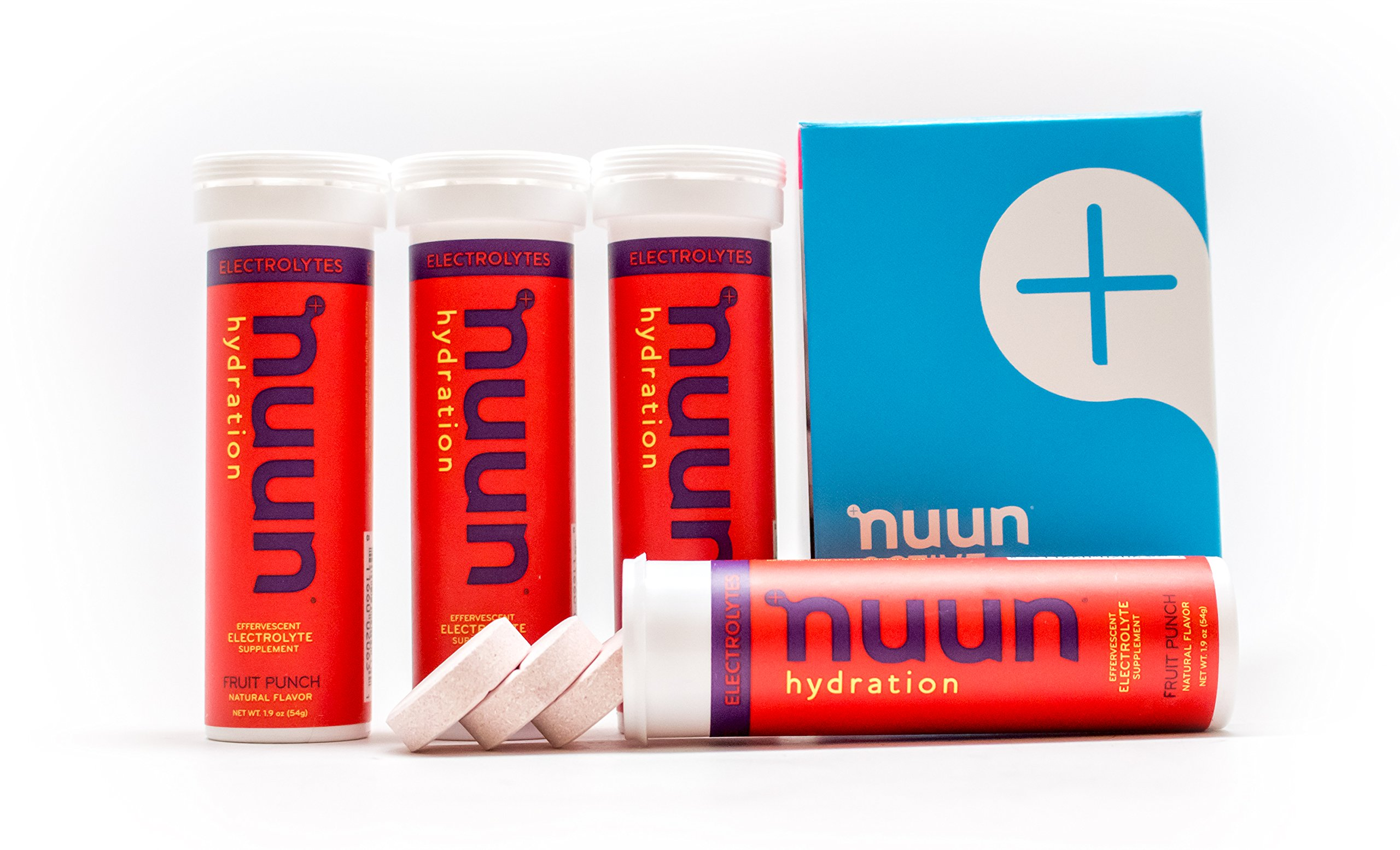 Nuun Hydration: Electrolyte Drink Tablets, Fruit Punch, Box of 4 Tubes (40 servings), to Recover Essential Electrolytes Lost Through Sweat