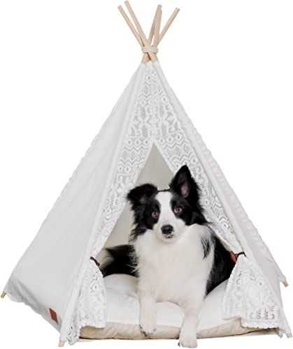 little dove Pet Teepee Dog Puppy Cat Bed – Portable Pet Tents Houses for Dog Puppy Cat Lace Style with or Without Optional Cushion