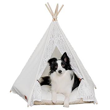 han-mm - Casa Mascotas Cama Gato Cama mascotas casa perro portátil tiendas mascota casa cama para perros encaje Uno: Amazon.es: Productos para mascotas