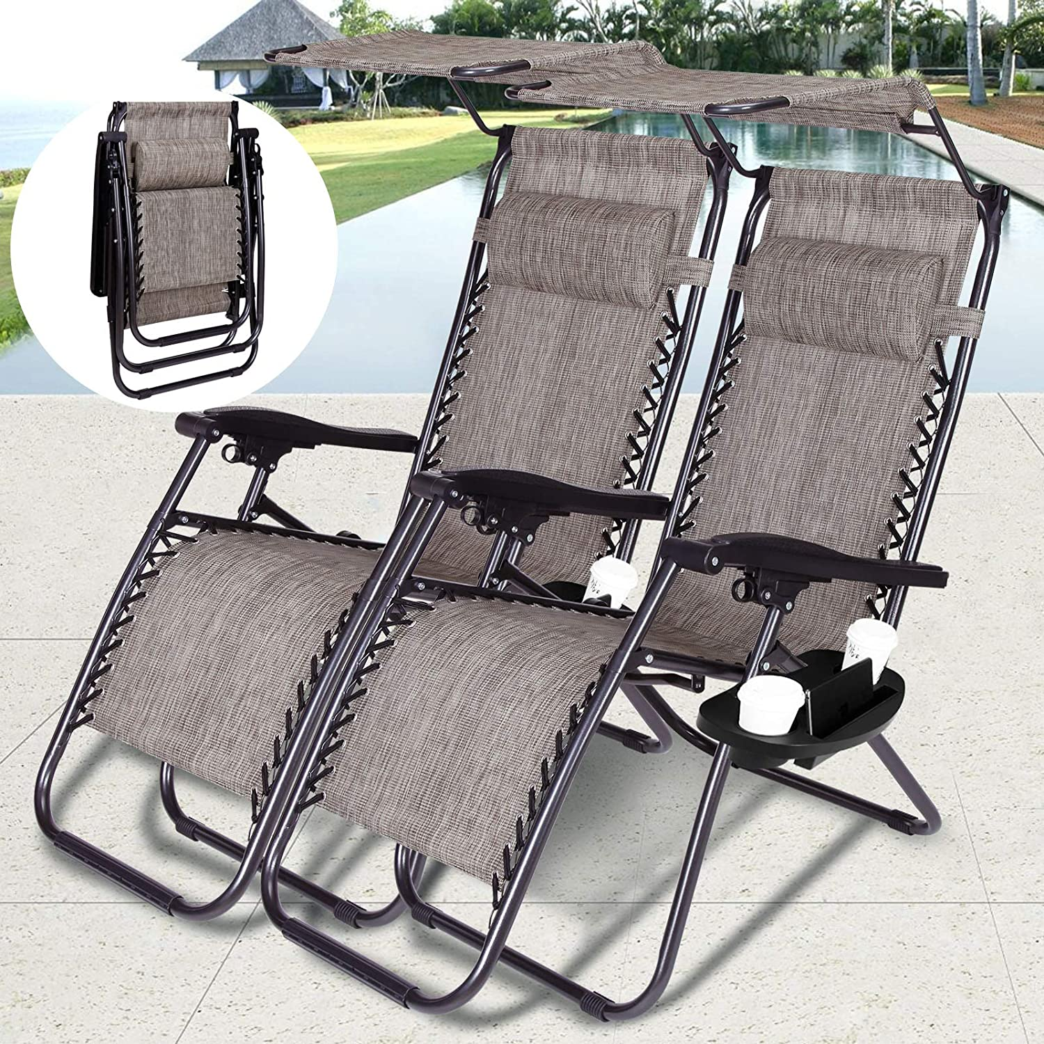 LINLUX 3 Piece Rocking Bistro Set Outdoor Steel Patio Furniture Sets with Two Thickened Cushions Glass Coffee Table