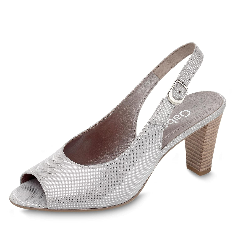 Gabor 81.834-69 Damen Sandalette Absatz aus Veloursleder Verstellbare Schnalle Absatz Sandalette Grau/Metallic af82c9