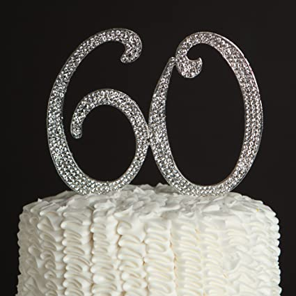 Amazon ella celebration 60 cake topper for 60th birthday or ella celebration 60 cake topper for 60th birthday or anniversary silver party supplies decoration ideas junglespirit Image collections
