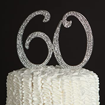 Amazon 60 cake topper for 60th birthday or anniversary silver 60 cake topper for 60th birthday or anniversary silver party supplies decoration ideas junglespirit Gallery