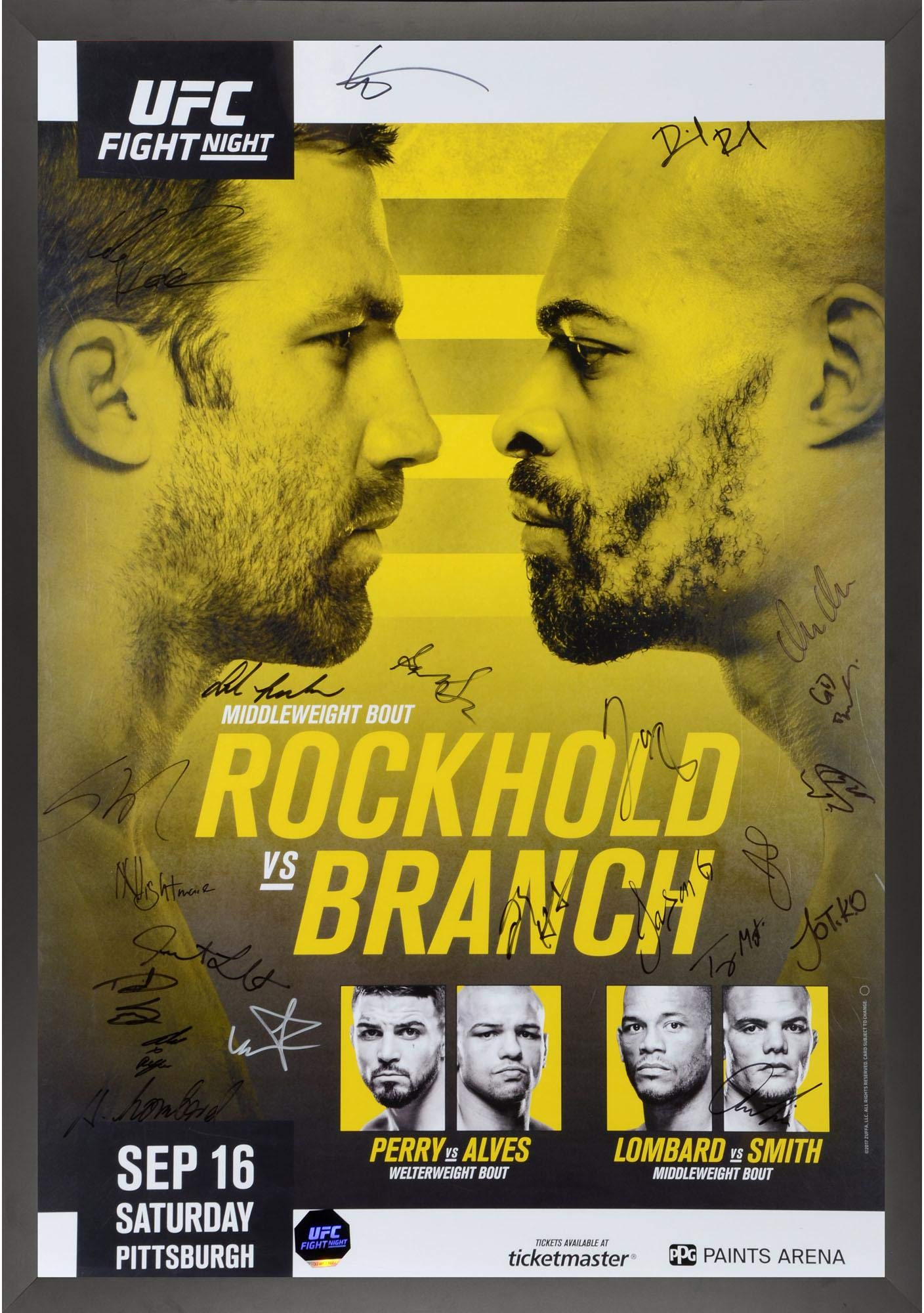 "UFC Fight Night 116 Rockhold vs. Branch Framed Autographed 27"" x 39"" 20 Signature Fight Poster Fanatics Authentic Certified"