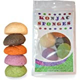 Konjac Sponge Set: Organic Skincare Facial for Natural Exfoliating and Deep Pore Cleansing 5 Piece Sampler Pack Infused with Charcoal, Red Clay, Tumeric, Green Tea