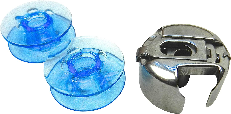 ZickZackNaehmaschine Bobina Cápsula + 2Azules plástico Bobinas para Pfaff hobbymatic Máquina de Coser