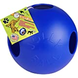 Jolly Pet TEASER BALL with Ball Inside Dog Chew Hard Plastic Toy Blue 10-inch