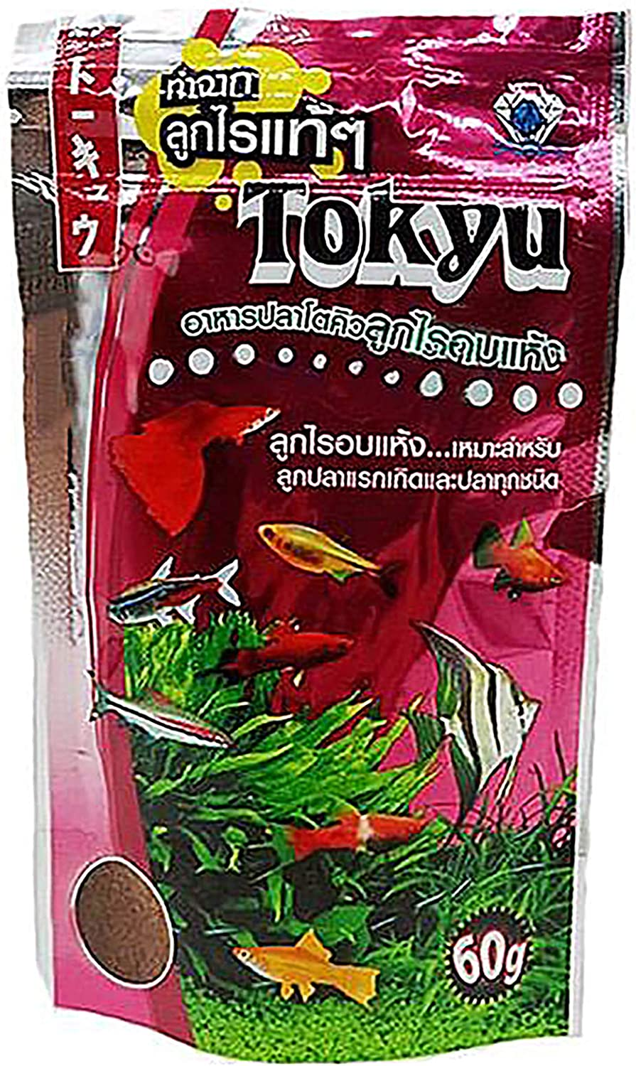 Tyoku Fish Food (Dry Moina Macrocopa) Mini Floating Pellets 60 g. High Protein 61-70% Guppy & All Tropical Fish Food for Feed Baby Fry Fish Small Fish, Color Enhancing, Growth Fast Formula Fish Feed