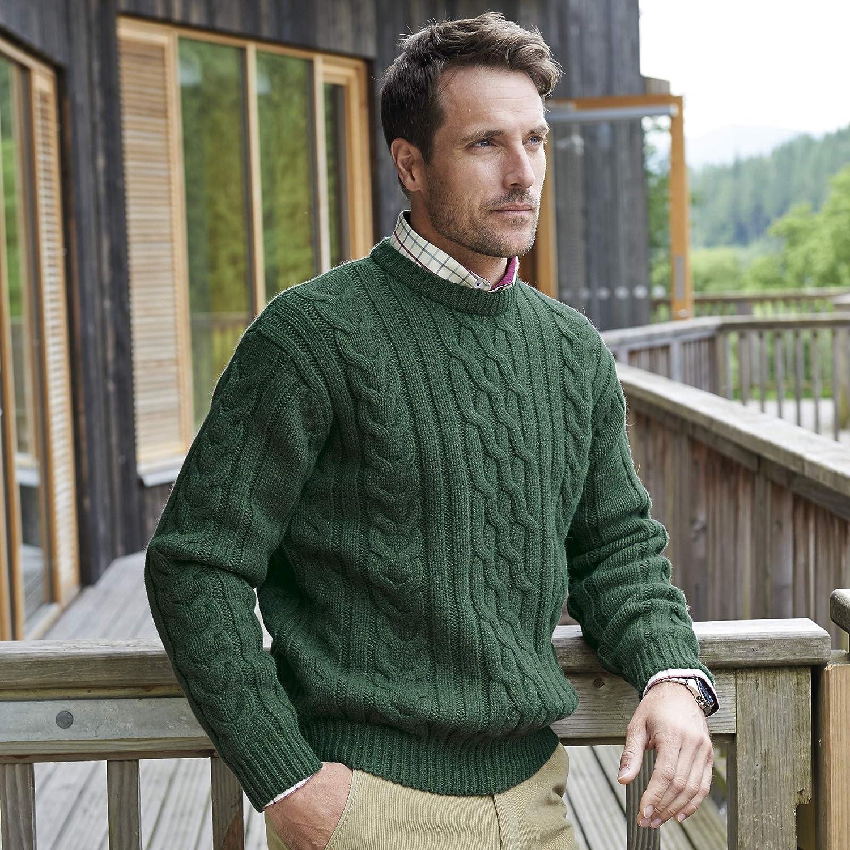 Samuel Windsor Mens Chunky Aran Knit Wool Jumper