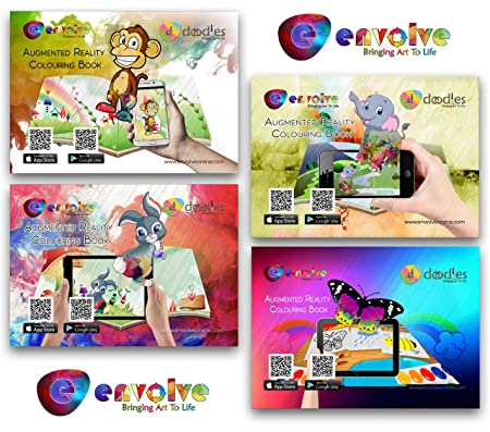 Kids Augmented Reality Colouring Books 4 Pack With Free Animations Using App For The