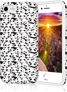 ZQ-Link Protective Case for iPhone 8, Raised Edge Light Weight Thin Flexible Soft TPU Glossy Bright Rubber Silicone Phone Cover for iPhone 7 / iPhone 8 / iPhone SE2 - Seamless Cute Panda Pattern