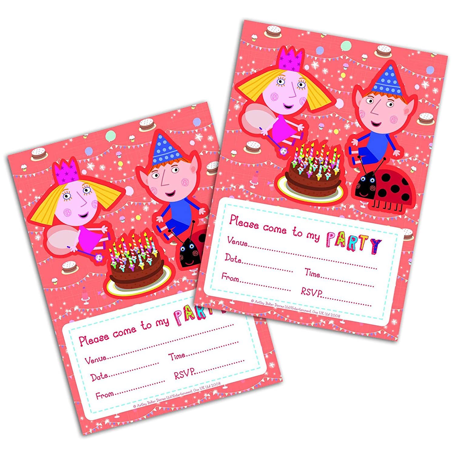 Official Ben and Holly Party Invites x Pack of 20 with Envelopes ...