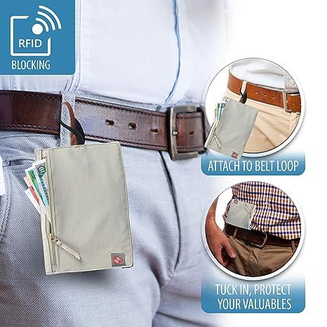 8faabdd73270 Lewis N. Clark RFID Hidden Travel Wallet, Brown, One Size