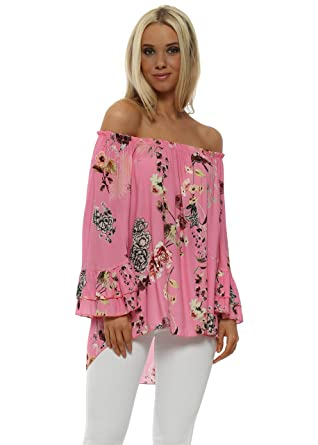420d428170d Sugar Babe Floral Double Frill Cuff Bardot Top One Size Pink: Amazon.co.uk:  Clothing