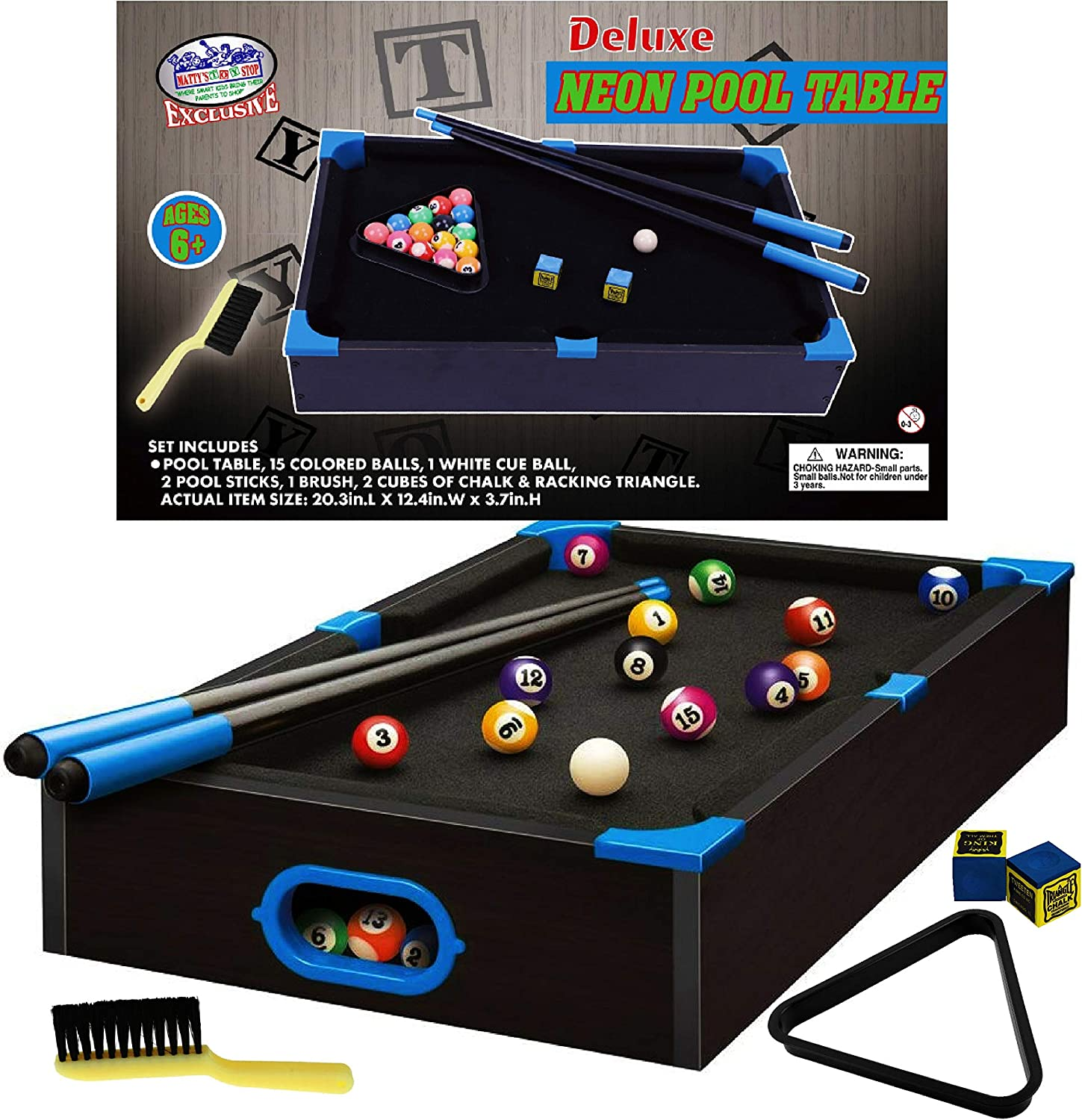 """Matty's Toy Stop Deluxe Wooden 20"""" Mini Table Top NEON Pool (Billiards) Table with 15 Colored Balls, 1 Cue Ball, 1 Brush, 2 Pool Sticks, 2 Cubes of Chalk & Racking Triangle : Sports & Outdoors"""