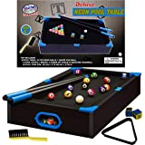 "Matty's Toy Stop Deluxe Wooden 20"" Mini Table Top NEON Pool (Billiards) Table with 15 Colored Balls, 1 Cue Ball, 1 Brush, 2 P"