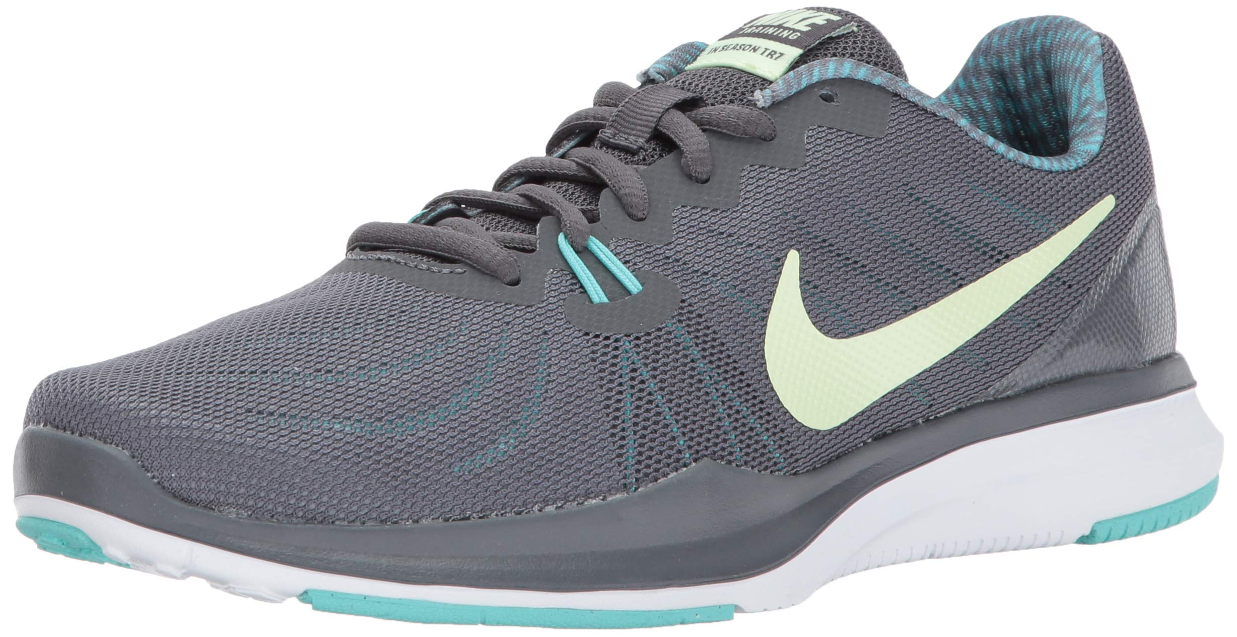 Nike Women's in-Season Trainer 7 Cross, Dark Grey/Barely Volt - Aurora Green, 10.0 Regular US