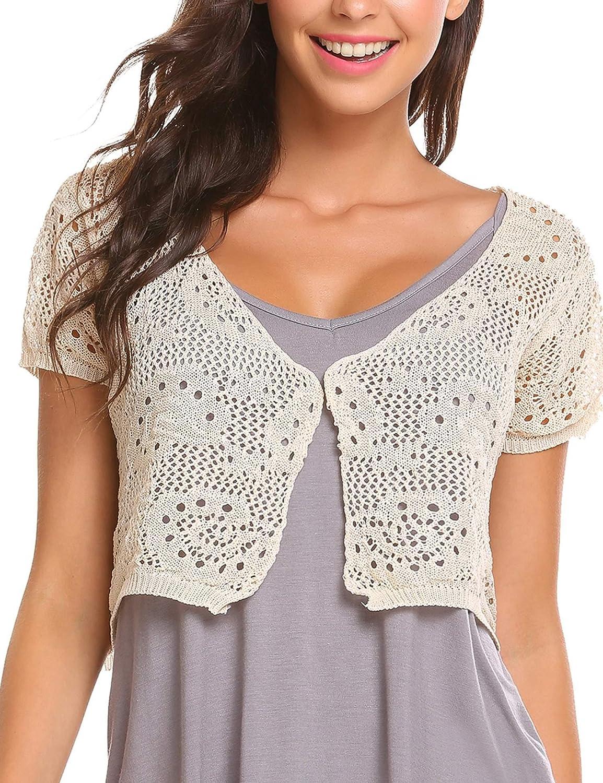 Meaneor Women Lace Crochet Bolero Shrug Top Short Sleeve Knit Open Crop Cardigan