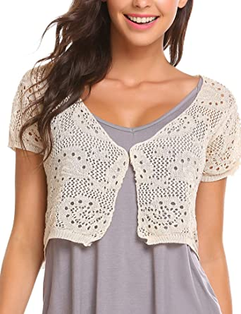 Elesol Women Lace Crochet Bolero Shrug Tops Short Sleeve Knitted