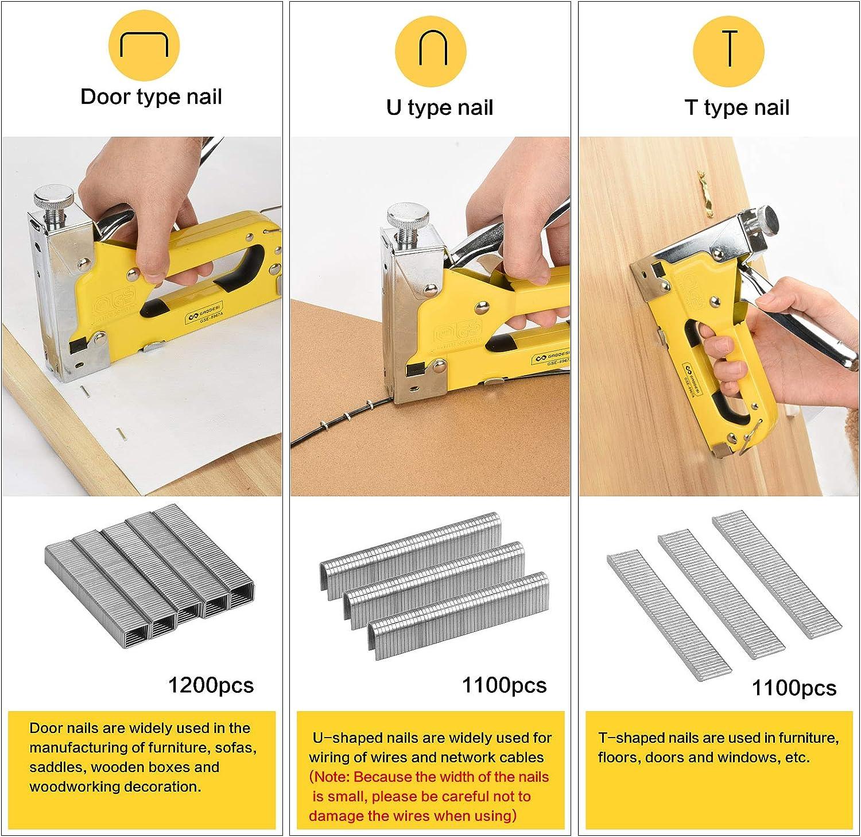bricolage meubles mat/ériel de fixation menuiserie Drado Agrafeuse avec 3400 agrafes et d/étache-agrafes 3 en 1 pour tapisserie d/écoration