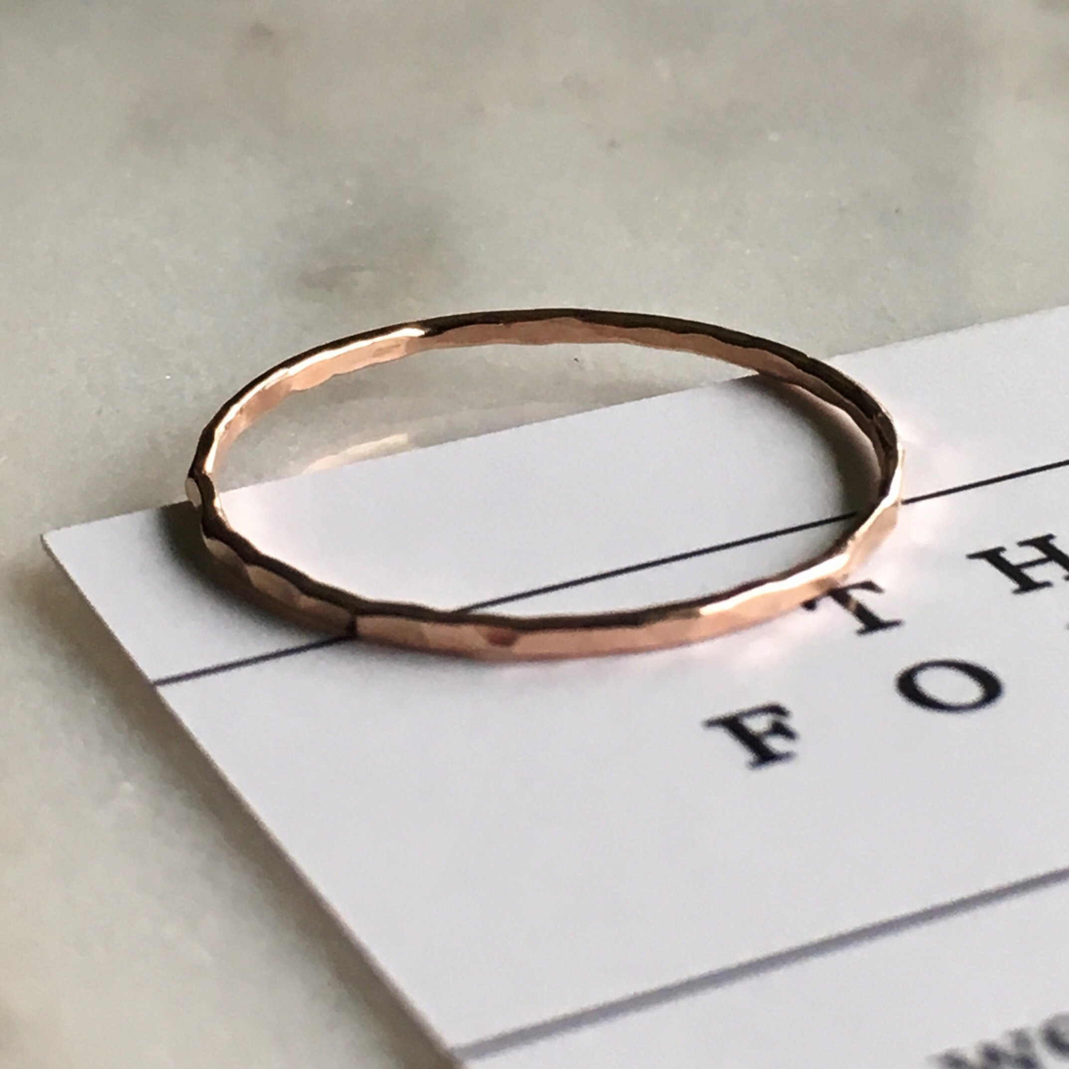 14k Rose Gold Filled, Stacking Dainty Little Plain Band, Size 6 Ring, Gift for Women