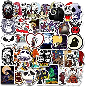 50PCS Halloween Theme The Nightmare Before Christmas Thriller Horror Style Toy Sticker for Water Bottle Skateboard Luggage Trolley Laptop Doodle Cool Tim Burton's Sticker