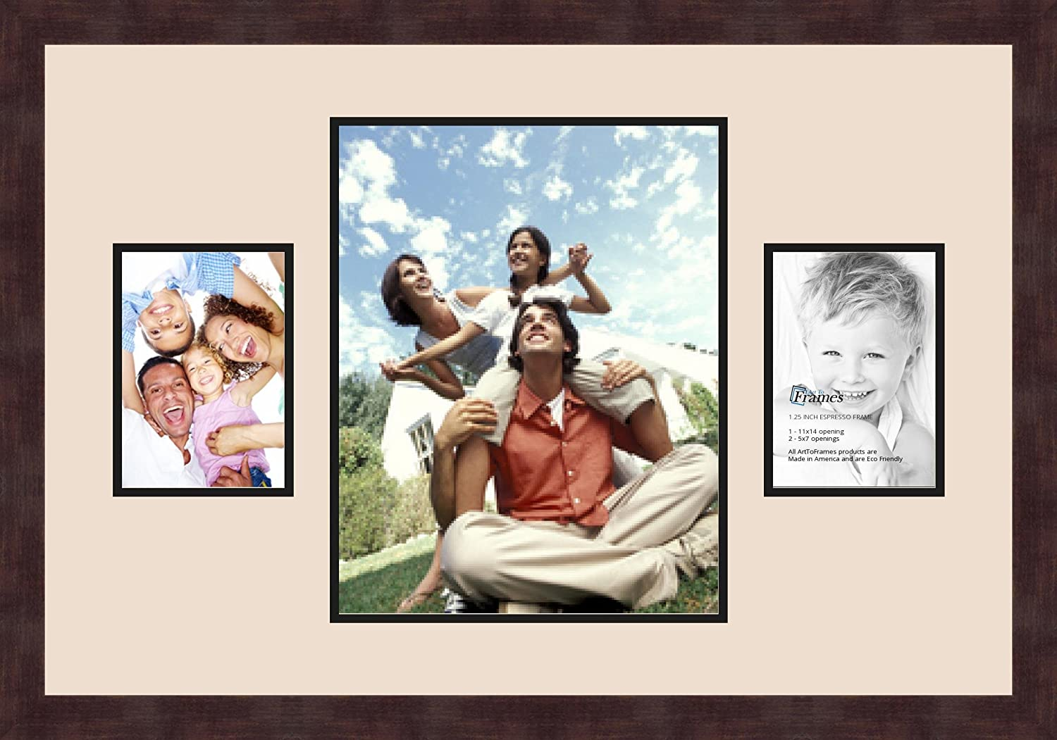 Art to Frames Double-Multimat-206-825//89-FRBW26061 Collage Frame Photo Mat Double Mat with 1-11x14 and 2-5x7 Openings and Espresso Frame