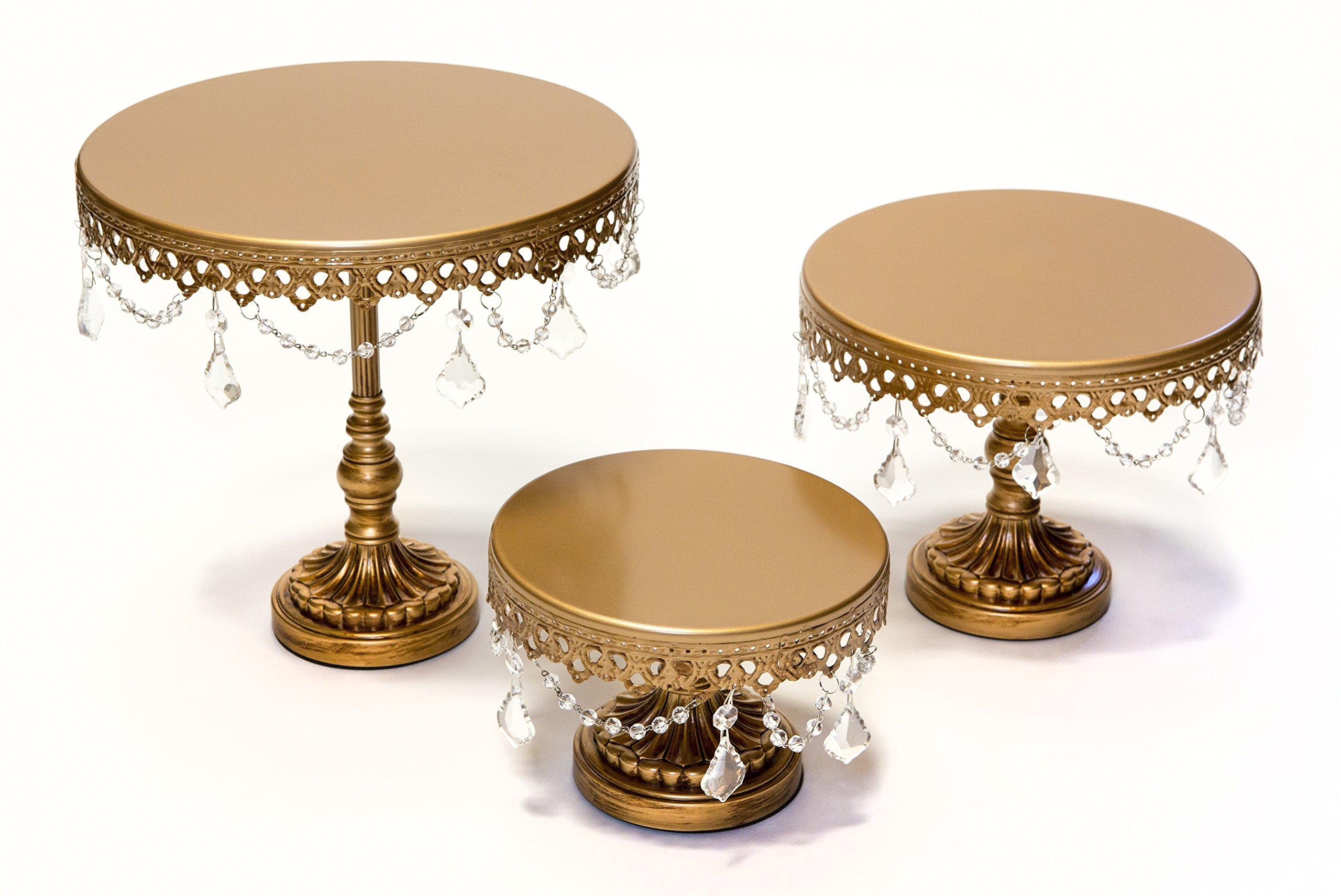 Opulent Treasures Chandelier Round Cake Plate Stands (Set of 3), Wedding Cake, Birthday Party Cupcake & Dessert Pedestal Stands(Antique Gold)