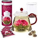 Teabloom Amore Flowering Teapot Gift Set - Borosilicate Glass Teapot with Infuser (1000 ml) - 12 Heart-Shaped Blooming Tea Flowers Included