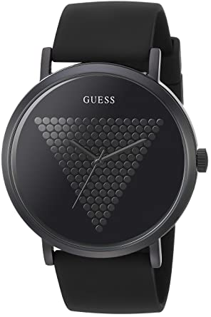 GUESS Mens Black and Hematite-Tone Analog Watch