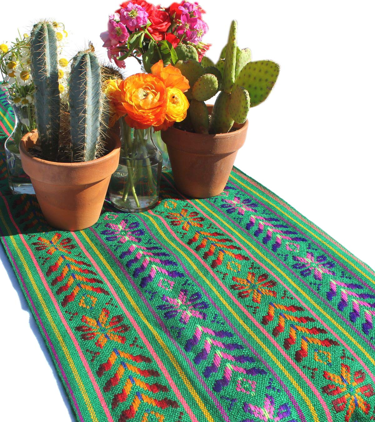Del Mex Woven Rebozo Style Mexican Table Runner Scarf (Green)