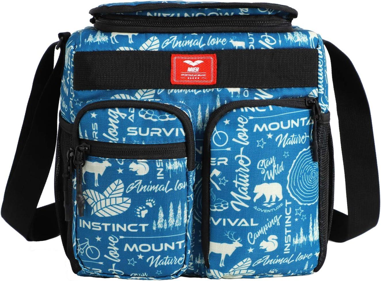 Multiple Pockets MIER Leakproof Insulated Cooler Lunch Bag for Adult Men Women 30 Can Cooler Bag with Top Flip Lid 18L Grey
