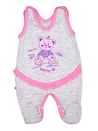best website 7c11c 9a366 Baby Strampler Happy Bear Mädchen Gr.56-86 (62, hellgrau)
