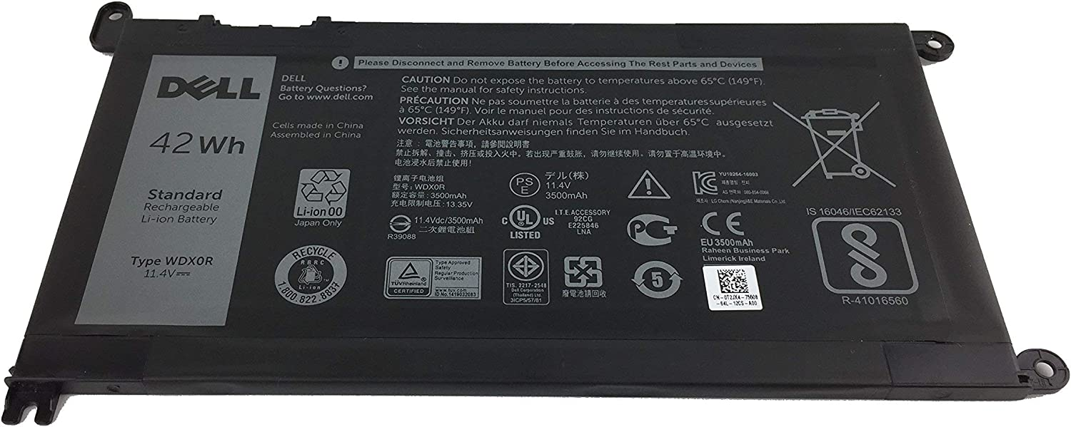 Genuine Dell Battery WDXOR 42Whr 4-cell 11.4V for Dell Inspiron 13 5368 5378 7368 7378, Inspiron 15 5565 5567 5568 5578 7560 7570 7579 7569 P58F and Inspiron 17 5765 5767 (Type WDX0R) (Renewed)