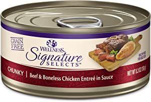 Wellness Core Signature Selects Grain Free Wet Canned Cat Food, Chunky Beef & Chicken, 5.3-Ounce (Pack Of 12)