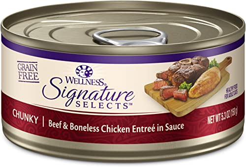 Wellness Core Signature Selects Natural Canned Grain Free Wet Cat Food Chunky Beef Chicken