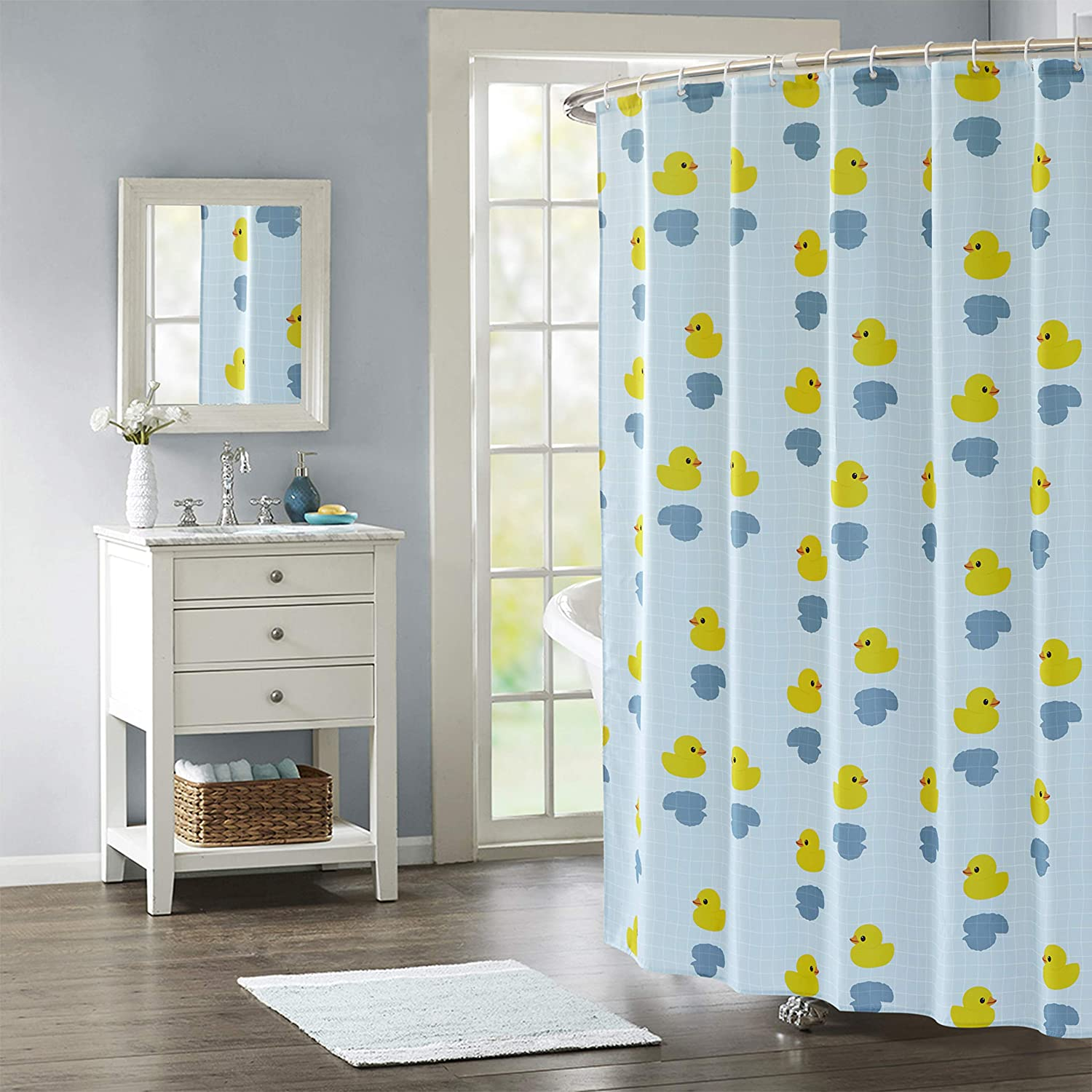 70 in x 72 in Rainbow Canvas Shower Curtain with Matching Resin Hooks Set