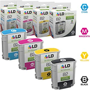 LD Remanufactured Ink Cartridge Replacement for HP 82 (Black, Cyan, Magenta, Yellow, 4-Pack)