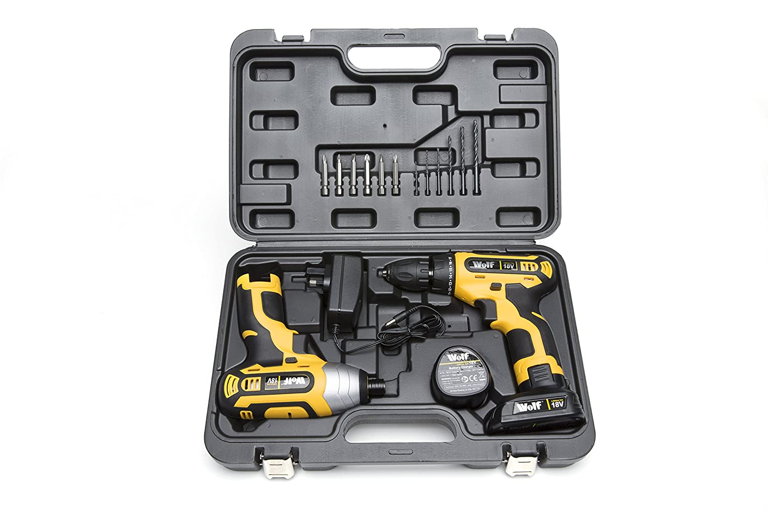 Wolf 18v Lithium Ion Drill Driver & Impact Driver Set Supplied in Case - 2 Year Warranty