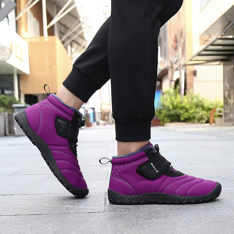 b78cd47a076cd0 SAGUARO Homme Femme Chaussures De Neige Bottes Hiver Bottines Fourrées  Chaudes Boots Lacets Plates