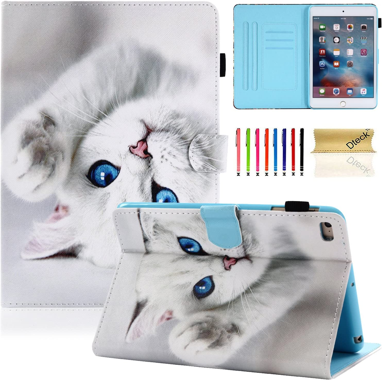 iPad Mini Case, iPad Mini 2/3/4/5 Case, Dteck Slim Folio Stand PU Leather Wallet Case with Auto Wake/Sleep Smart Protective Cover for Apple iPad Mini 1/ Mini 2/ Mini 3/ Mini 4/Mini 5, White Cat