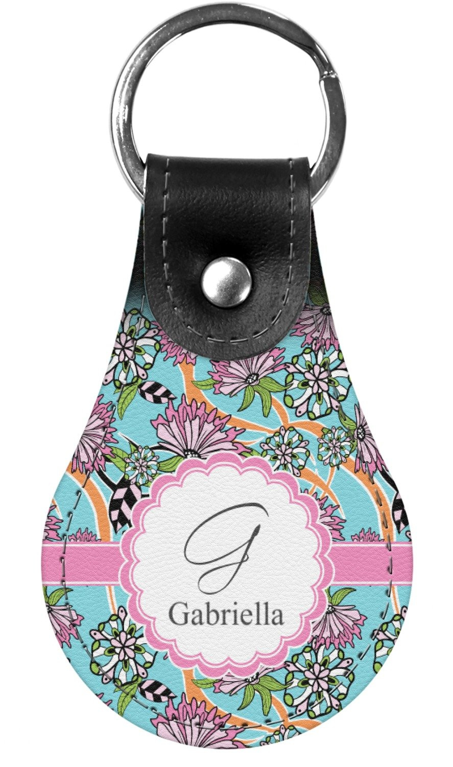 Summer Flowers Genuine Leather Keychain (Personalized)