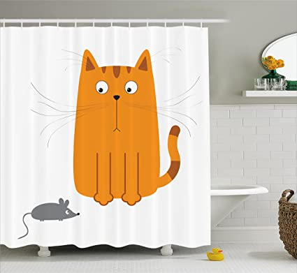 Amazon.com: Ambesonne Cartoon Shower Curtain, Cute Cat Looking at ...