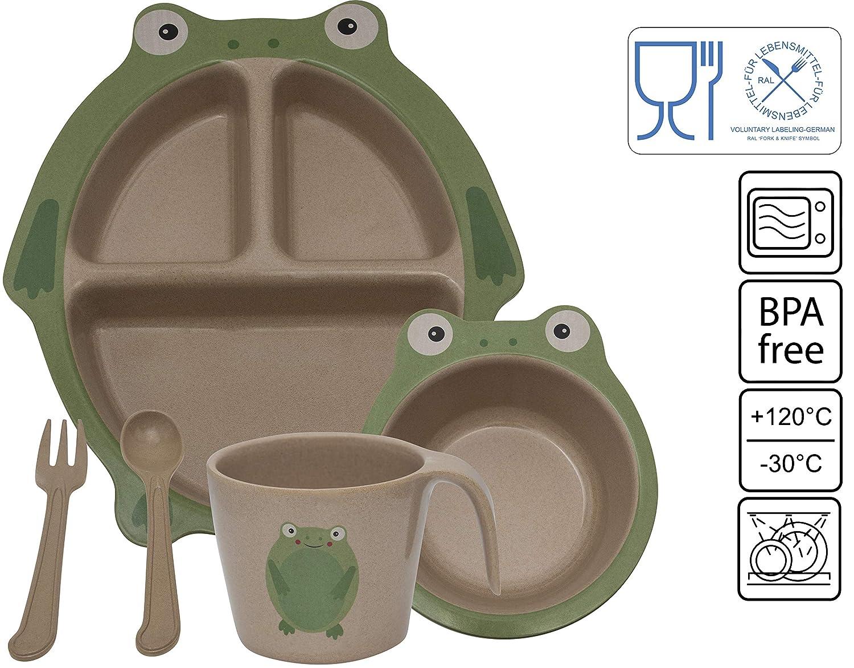 Schweinchen Green World Production Kindergeschirr Set 6-teilig aus Reish/ülse ohne Melamin besteht aus Teller Schale L/öffel Gabel Tasse und Saugnapf Sp/ühlmaschienengeeignet Mikrowellengeeignet