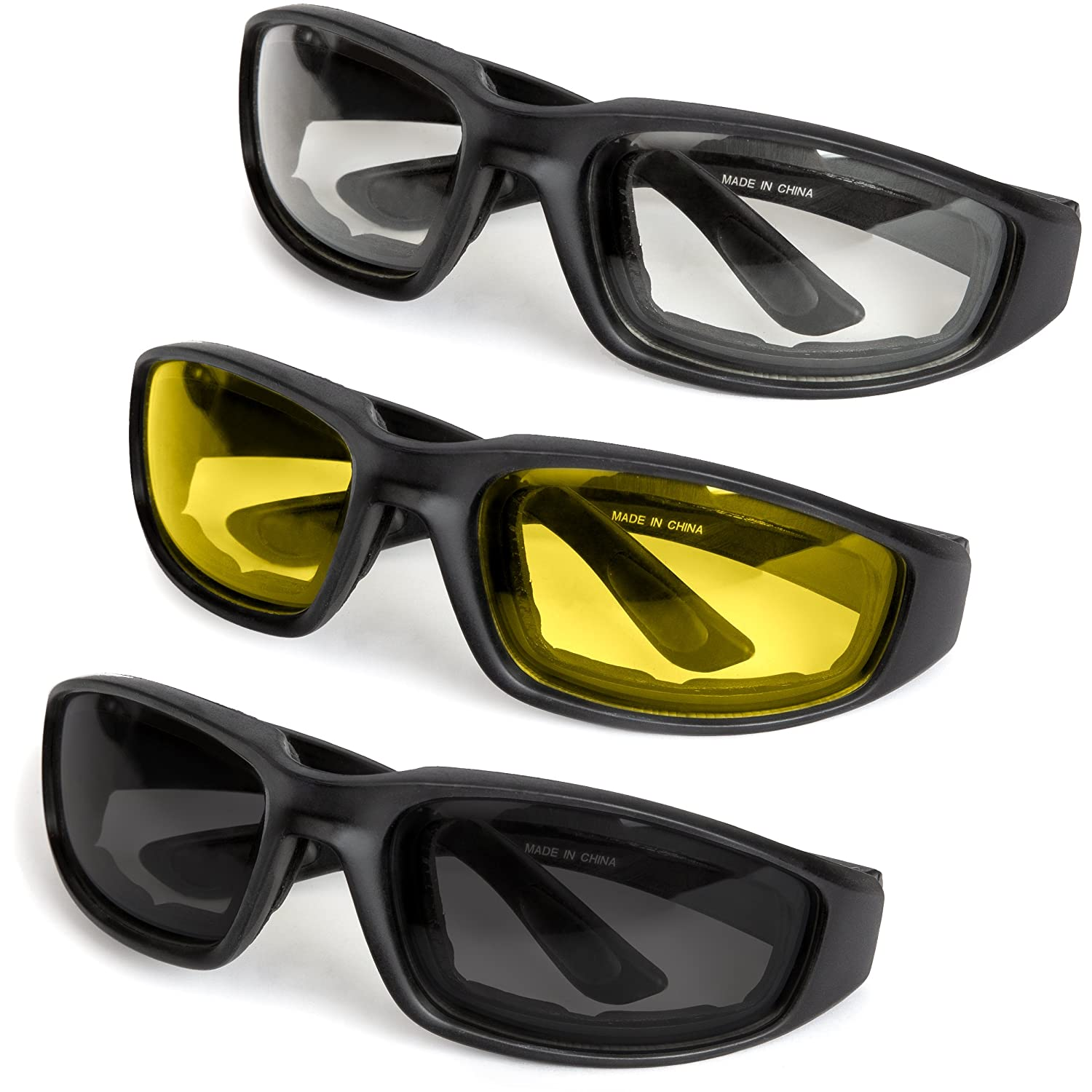 9654e4b0e0 Amazon.com  3-Pack Motorcycle Glasses – Foam Padding – Anti-Wind   Dust –  Polycarbonate Lens (Yellow