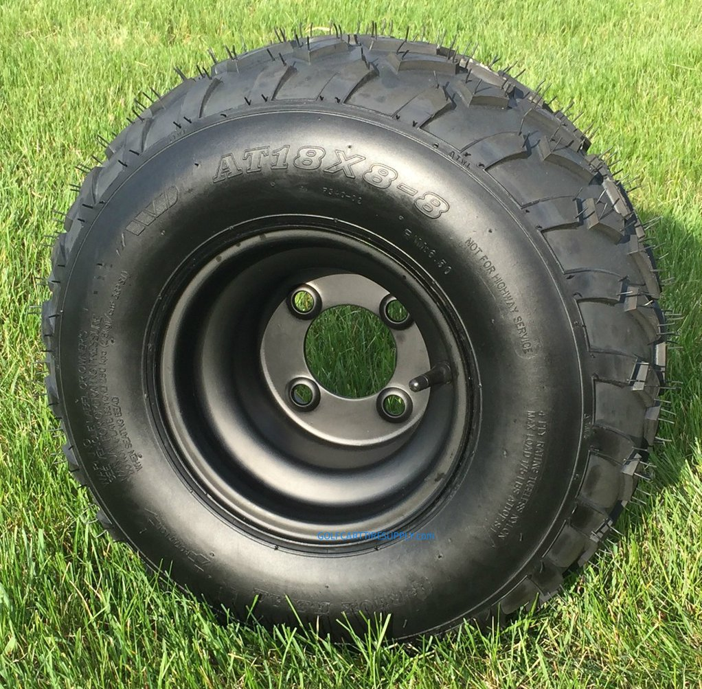 RHOX RXAL 18x8-8 All Terrain Golf Cart Tires and 8'' Black Steel Golf Cart Wheels Combo - Set of 4