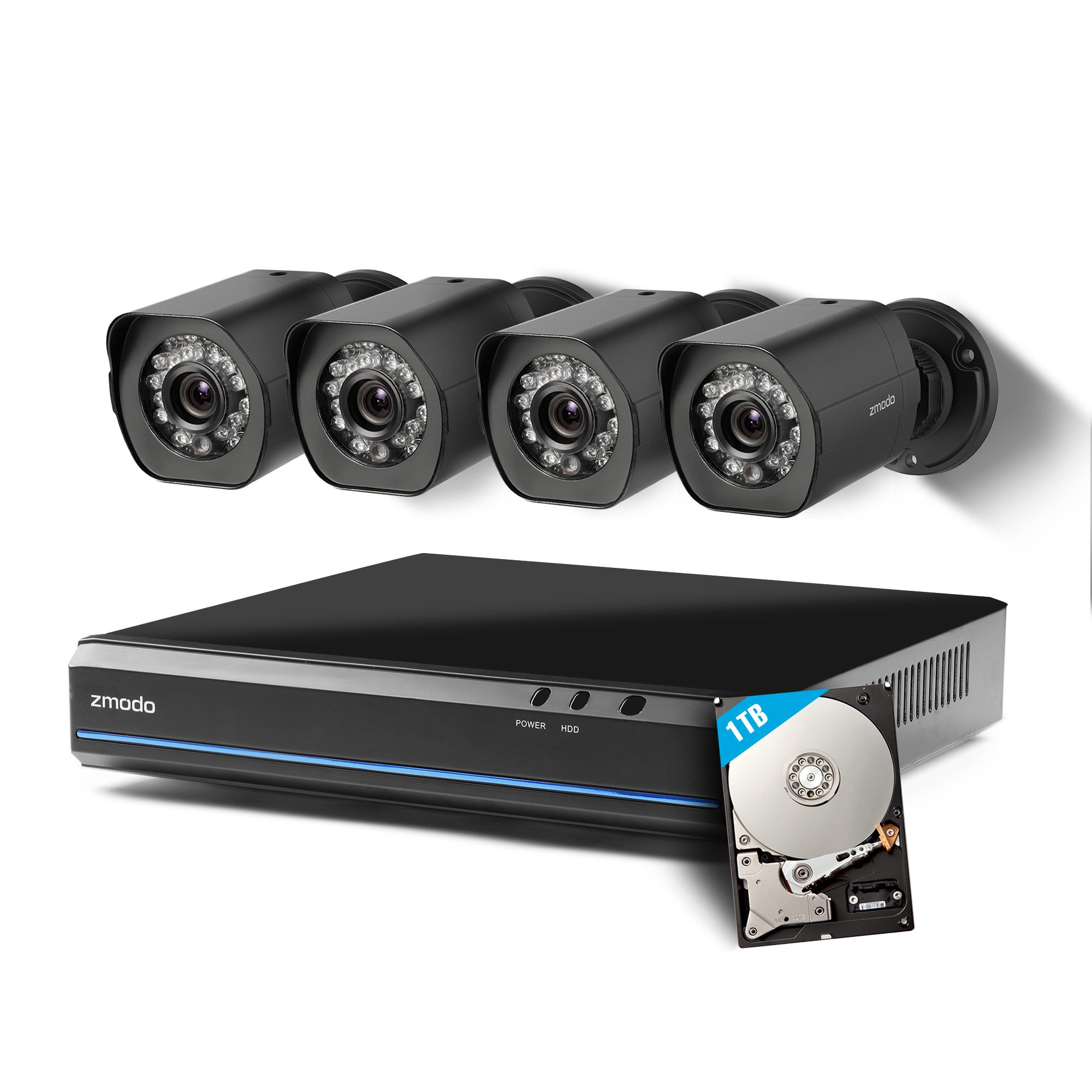 Zmodo 4 Channel HDMI NVR 4x720p HD Security Camera Smart Simplified PoE System (1TB HDD)