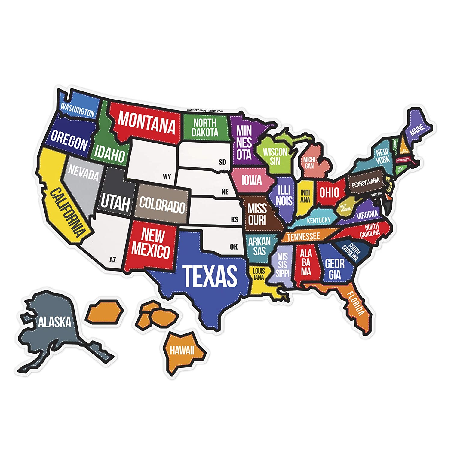 "State Text Travel Map Decal Sticker 21"" x 15"" for Motor Home RV Trailer Vehicle 