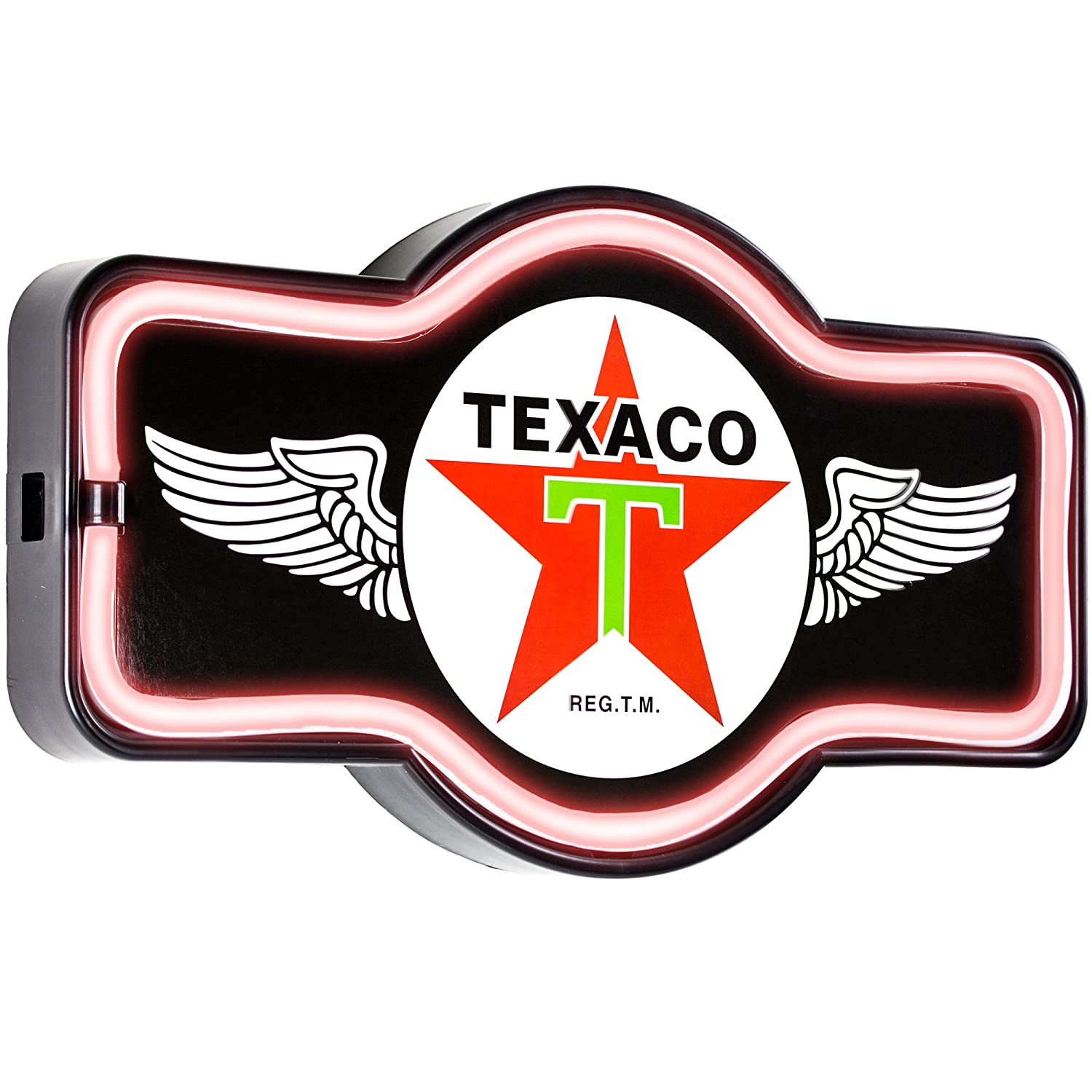 Reproduction Vintage Advertising Marquee Sign 17 x 10 x 3 Inches Sott Battery Powered LED Neon Style Light Texaco Oil Gas Station