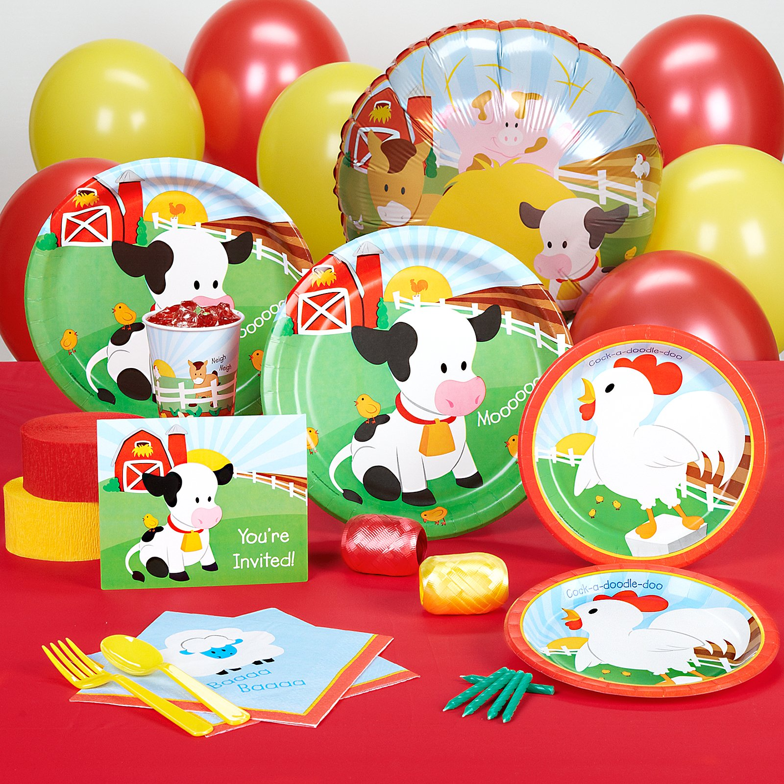 BirthdayExpress Farm Animal Party Supplies - Standard Party Pack for 16